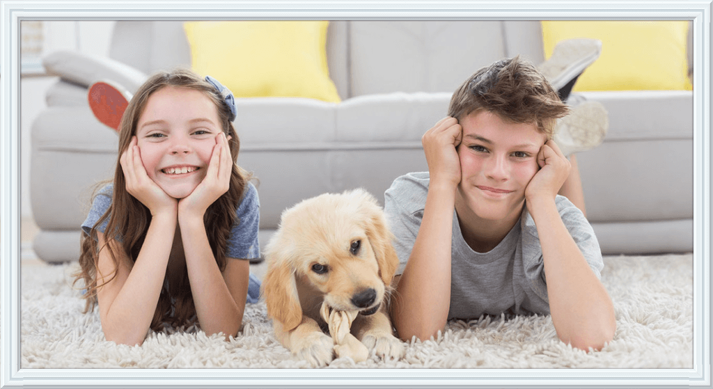 Kids and Dog Enjoying Clean Carpet San Diego